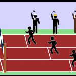 Kolme juksijaa epäreilussa kilpailussa. Hyväosainen saa aloittaa lähempää maalia.