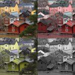 Porvoon vanha kaupunki simuloituna eri värisokeuden muodoilla